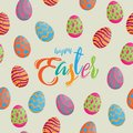 Seamless pattern easter eggs different texture with colorful hap