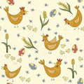 Seamless pattern of easter hens chicks and easter eggs with forget me nots corn Stock Image