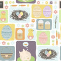 Seamless pattern with Easter symbols. Easter eggs, bunny, easter
