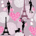 Seamless pattern effel tower hearts with callig calligraphic text i love shopping girls silhouettes shopping bags background for Stock Photos