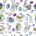 Seamless pattern with eggs, rabbit, and spring flowers for Happy Easter decoration. Hand drawn colored sketch.