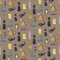 Seamless pattern with egyptean elements such as cats sphinx mummy pyramids scarabs etc vector illustration Stock Photography