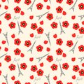 Seamless pattern. Eiffel tower and red poppies, Paris, France. Vector background Royalty Free Stock Photo