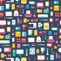 Seamless pattern of electronic devices and home appliances icons set in flat style template vector elements for web mobile Stock Image