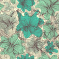 Seamless pattern elegant with abstract blue flowers for your design Stock Photo
