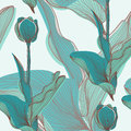 Seamless pattern elegant with abstract tulip flowers for your design Royalty Free Stock Photo