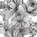 Seamless pattern elegant with hand drawn decorative flowers design element Royalty Free Stock Images