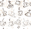 Seamless pattern elegant with hot coffee cups for your design Royalty Free Stock Image