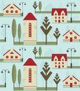 Seamless pattern element. Cute houses with red roofs, street lamps and trees.