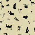 Seamless pattern with elements of primitive painting Royalty Free Stock Photo