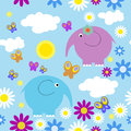 Seamless pattern with elephants and butterflies a Royalty Free Stock Photos