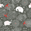 Seamless pattern of elephants in the clouds Stock Photography