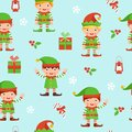 Seamless pattern with elves, berries and boxes.