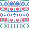 Seamless pattern embroidery cross stitch style vector illustration of Stock Photography