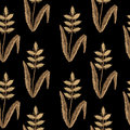 Seamless pattern with embroidery stitches imitation ear of wheat