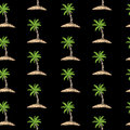 Seamless pattern with embroidery stitches imitation little palm