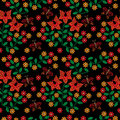 Seamless pattern with embroidery stitches imitation little red f