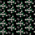 Seamless pattern with embroidery stitches imitation little white