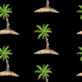 Seamless pattern with embroidery stitches imitation palm tree