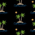 Seamless pattern with embroidery stitches imitation palm tree wi