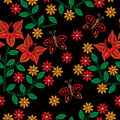 Seamless pattern with embroidery stitches imitation red flower a