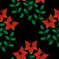 Seamless pattern with embroidery stitches imitation red flower