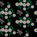 Seamless pattern with embroidery stitches imitation white flower