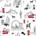 Seamless pattern with english miniatures bright background the style of london Royalty Free Stock Photography