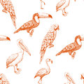 Seamless pattern with exotic birds
