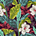 Palm leaves with flowers, seamless pattern
