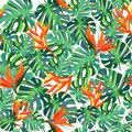 Seamless pattern with exotic plants. Summer bright background.