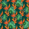 Seamless pattern with exotic plants. Summer dark background.