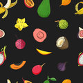 Seamless pattern with exotic tropical fruits. Black vector background.