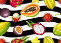 Seamless pattern with exotic tropical fruits. Illustration of asian plants
