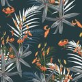 Seamless pattern with exotic tropical palms and lilies flowers on the dark background. Royalty Free Stock Photo