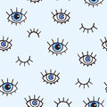 Seamless pattern with eyes on a blue background. Bohemian style background for design. Abstract print of open and close eyes. Hand Royalty Free Stock Photo