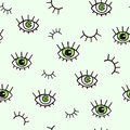 Seamless pattern with eyes on a green background. Bohemian style background for design. Abstract print of open and close eyes. Royalty Free Stock Photo
