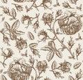 Seamless Pattern Fabric Flower...