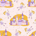 Seamless pattern with fairy and castle Stock Images