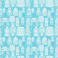 Seamless pattern with fairy tale houses, lanterns
