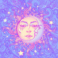Seamless pattern. Fairytale style sun with a human face resting on a curly ornate cloud. Mandala tattoo.