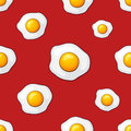 Seamless pattern with falling fried eggs
