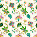 Seamless pattern with fantasy flowers.