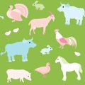 Seamless pattern with farm animals colorful Royalty Free Stock Photos
