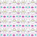 Seamless pattern with fashion patch badges with cats lips and envelopes vector background with stickers pins patches in cartoon s Royalty Free Stock Photo