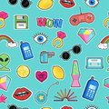 Seamless pattern with fashion patch badges with elements in cartoon 80s-90s comic style.Vector background