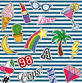 Seamless pattern with Fashion patches. stickers, pins and handwritten notes collection in cartoon 80s-90s comic style
