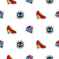 Seamless pattern with fashionable patch badges set, red shoes, eyes and diamonds, isolated on white background