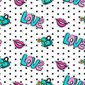 Seamless pattern with fashionable patch set. Hand drawn lips, love background