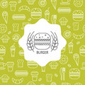 Seamless pattern with fast food icons.